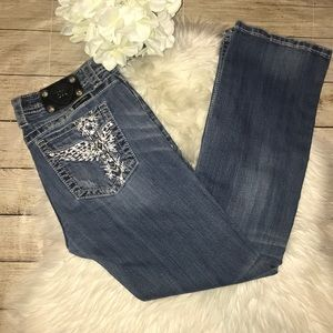 Miss Me Embroidered Cross Wings Boot Denim Jeans